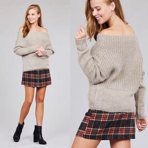 AIKO Off Shoulder Knit Sweater - KHAKI
